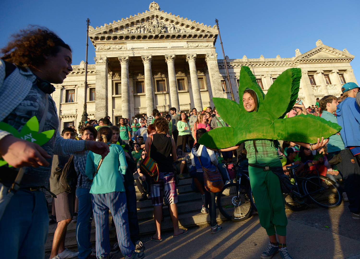 People attend a demonstration in support of the legalization of marijuana outside the Congress in Montevideo, Uruguay, on Tuesday.